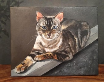 Custom, hand-painted pet portraits on canvas - 8x10