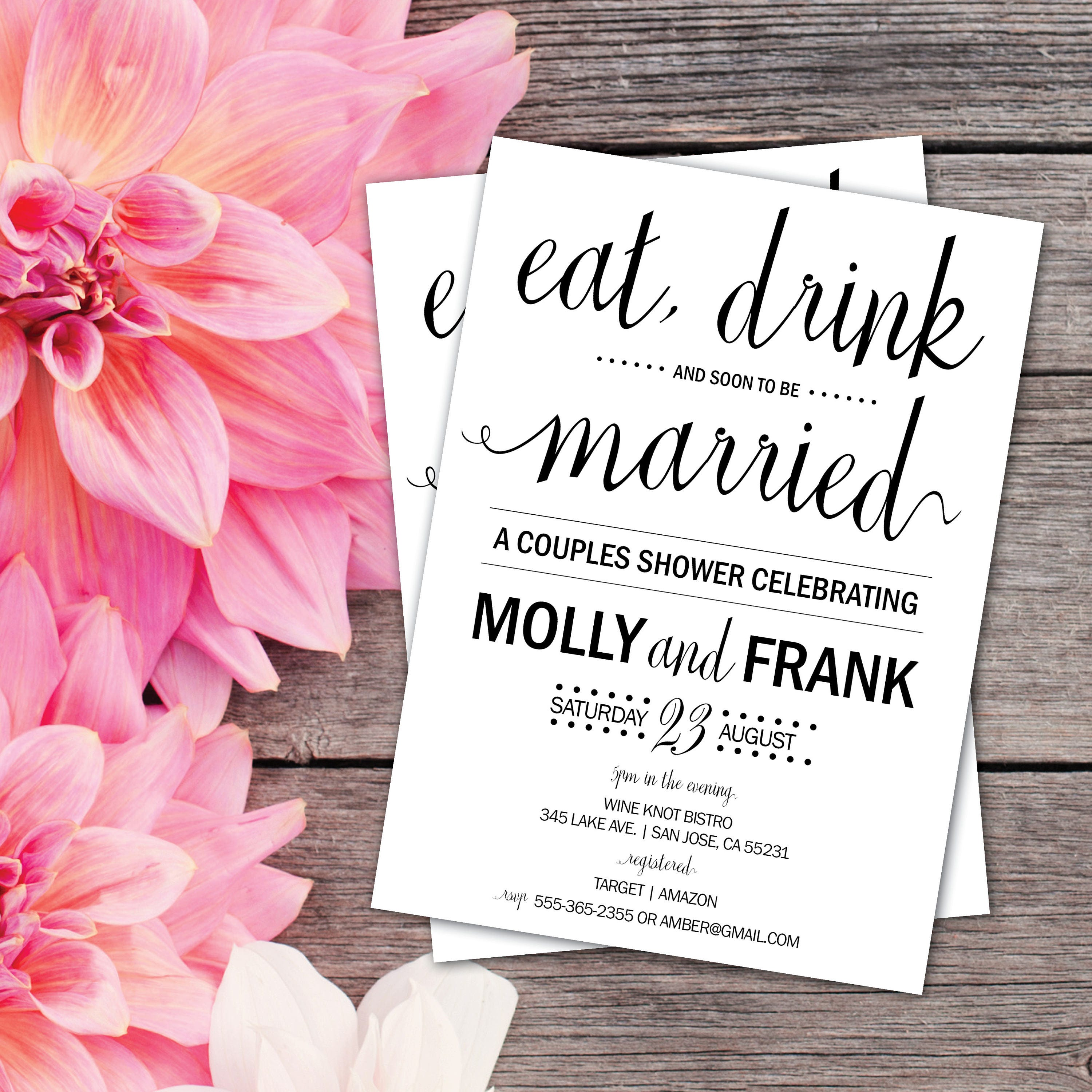 Couples Shower Invitation | Couples Shower Invite | Eat, Drink and ...