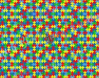4' Roll of Autism Awareness Pattern Vinyl, Puzzle HTV and Outdoor Vinyl, Autism Puzzle Vinyl, Bulk Austism Pattern Vinyl, Eco Solvent Print