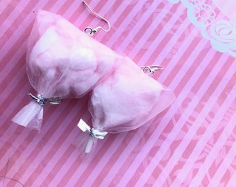 Pink cotton candy earrings, food jewelry/ miniature food/ miniature food jewelry, carnival cotton candy