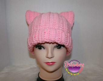 Pink Pussy Hat ,Crocheted ,Ready to Ship,Handmade