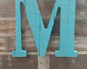 Reclaimed letter M Nursery decor - Reclaimed - wood - Idaho - monogram - woodsy - mantle Pallet wall art