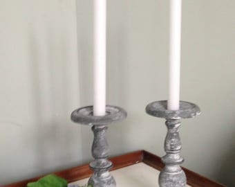 Pair of Farmhouse distressed metal candle holders