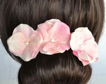 Set of 3 Handmade Blush Pink Hydrangea Flower Hair or Bobby Pins, Bridal, Wedding (Pearl-393)