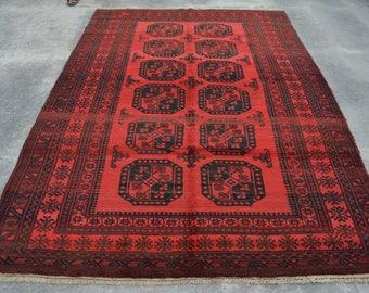 8'4 x 5'10 FT Afghan Handmade Turkoman Filpai area rug, Pattern Elephant Foot rug, Vintage rug