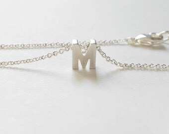 Matte Silver tiny Initial Necklace , upper case Letter, Silver chain necklace for Best friend, Personalized Initial,BFF Gift