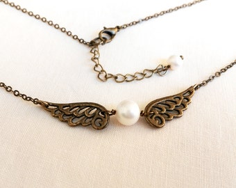 Angel Wing Necklace, wing ,Fresh water Pearl, Antique bronze necklace for BFF Gift, Gift for her, Girl friend, Mom, daughter, sister