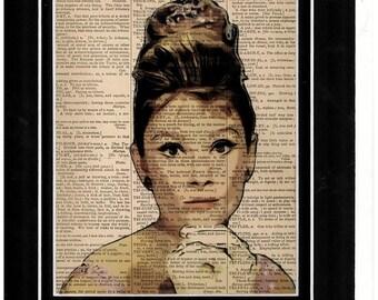 Audrey Hepburn art on old paper