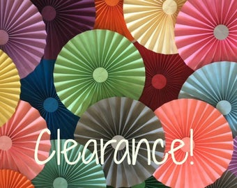 CLEARANCE! Paper Fans, Pinwheels, Paper Rosettes, Party Decoration, Photo backdrop, Cake Backdrop
