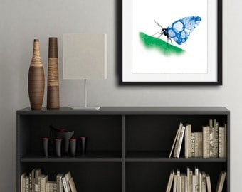 Watercolor Bubble Winged Butterfly Print - Home Decor - Home Office - Girls room