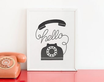 Hello Phone Letterpress Art Print