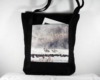 Heavy Cotton Tote with Bosque del Apache Cranes in the Fog Winter Scene Photo Print