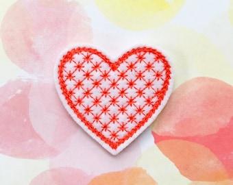 Heart Felties, Valentine's Day, Lattice Heart, Felt Applique, Hair Bow Supply