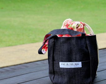 Denim project bag - Red accent