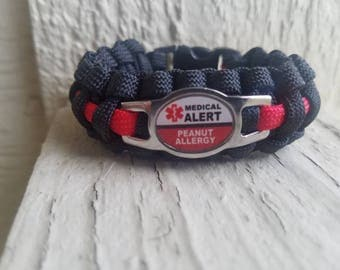 Peanut Allergy Medical alert paracord bracelet