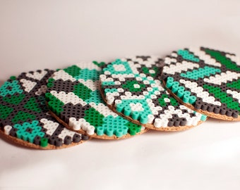 Geometric Teal and Green Coaster Set of 4 Original Designs Cork