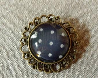 Blue pin white polka dot fabric