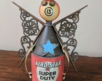 "Meet:""Winky"" Found Object Art Assemblage Robot"