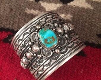 Spring Time Yet Vintage Gene Natan Vintage Navajo Turquoise And Sterling Silver Bracelet Signed