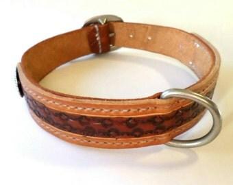 Large leather dog collar / western leather dog collar / tooled leather dog collar / dog collar with conchos /