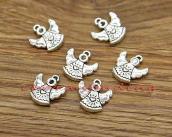 25pcs Angel Charms Antique Silver Tone 2 Sided Charms  13x14mm cf3014