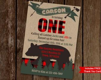 Lumberjack Birthday Invitation, Lumberjack First Birthday, Flannel Birthday Invite, Woodland Invitation