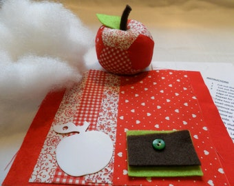 Red Patchwork Apple, Hand Sewing Kits