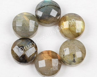 Clearance,5/6pieces,8mm Triangle Cabochon,Flashy Labradorite,Faceted Labradorite, Labradorite Cabochon,Labradorite jewelry,