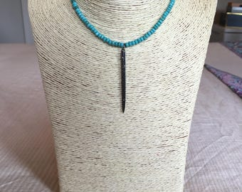 turquoise leather choker w/ spike
