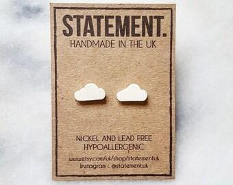 White Cloud Shaped (Weather / Sky) Cute Stud Earrings - 1 pair