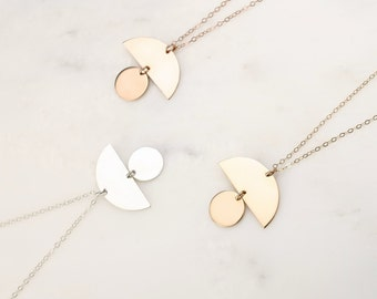 Geometric Necklace • Circle Moon Necklace • Circle Necklace • Simple Necklace • Disk Necklace • Gold Disk Necklace • Half Moon Necklace