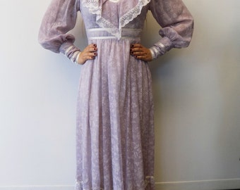 Vintage Gunne Sax purple long sleeve maxi