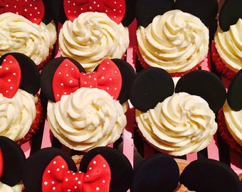Mickey & Minnie Mouse Ear/Bow Cupcake Toppers