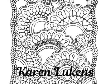 Cheerful Blooms, 1 Adult Coloring Book Page, Printable Instant Download, flowers