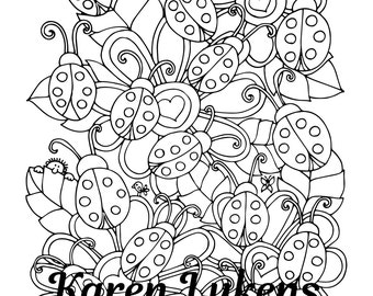 Ladybug Invasion, 1 Adult Coloring Book Page, Printable Instant Download, flowers