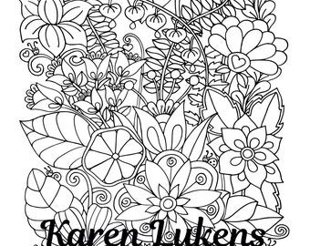 Flowers of Happiness, 1 Adult Coloring Book Page, Instant Download, Doodles, Tangles
