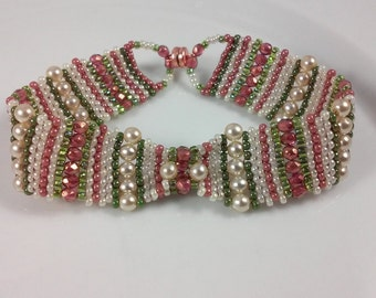 Dusty Rose & Cream Brick Stitch Bracelet (beadweaving - dusty rose fire polished, cream pearls, olive green, rose, and cream seed beads