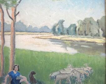 Petite peinture encadrée- Année 50- France