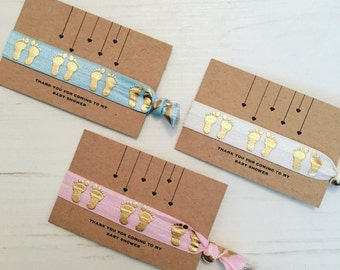 Baby shower thank you favour favours hair tie / bracelet / footprints