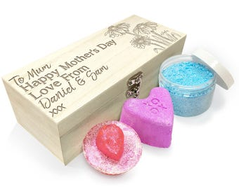 Personalised Mother's Day Daisies Wooden Spa Kit Box Collection 2