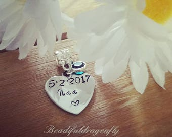 Stainless Steel European Style Personalized Heart-Shaped (Name) Charm with birthstone, Fits Pandora or Any Popular Brand Bracelets (1pc).