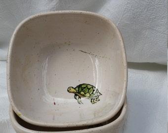 Hand Painted Searamic Ceramic Sea Turtle Bowl!