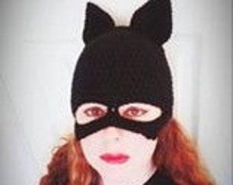Catwoman crocheted skull cap
