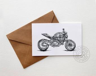 Motorcycle Greeting Card 4x6'' Folded in Kraft Envelope Ducati Monster