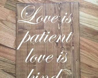 Love is Patient Love is Kind - Wedding Aisle Signs-1 Corinthians 13 Signs-Rustic Wedding Signs-Set of 8-Ceremony Decor-Rustic Aisle Signs