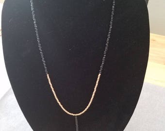 Black and Gold Glass Bead Necklace