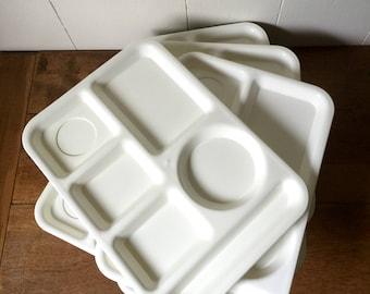 Vintage Silite Trays, Vintage White Food Trays, Silite #614