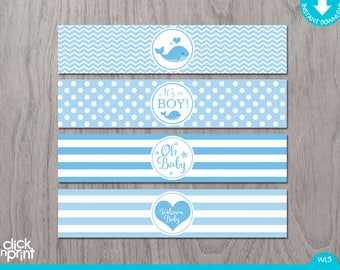Whale Baby Shower Print Yourself Water Bottle Labels, It's a Boy Baby Shower Bottle Labels, Baby Blue Baby Shower Decoration