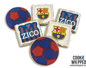 Soccer Cookies / FC Barcelona Cookies / Choose any Team - 3 Dozen