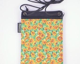 Sunflower cell phone bag. Fabric cross body zip purse.